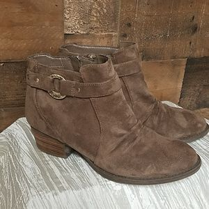 Dr Scholls brown faux suede booties 8